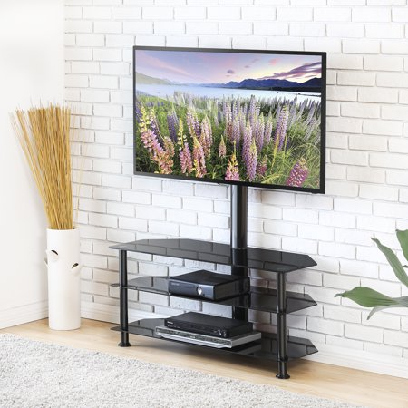 FITUEYES Swivel Floor TV Stand with Mount, Height Adjustable 3-in-1 Flat Panel Entertainment Stand for 32 to 65 inch Plasma LCD LED Flat or Curved Screen TVs (Solution Series Flat Panel Mount)