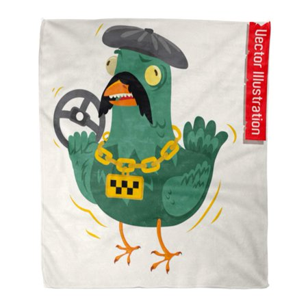 SIDONKU Flannel Throw Blanket Beak Dove Taxi Driver Angry Bowl Bus Cap Chain Soft for Bed Sofa and Couch 50x60 Inches