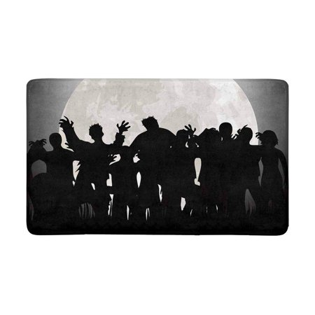 MKHERT Halloween Zombies Tombstones and Full Moon On The Cemetery Doormat Rug Home Decor Floor Mat Bath Mat 30x18 inch
