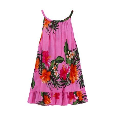 Girl Round Neck Tunic Hawaiian Luau Dress in Pink 6 - Luau Items