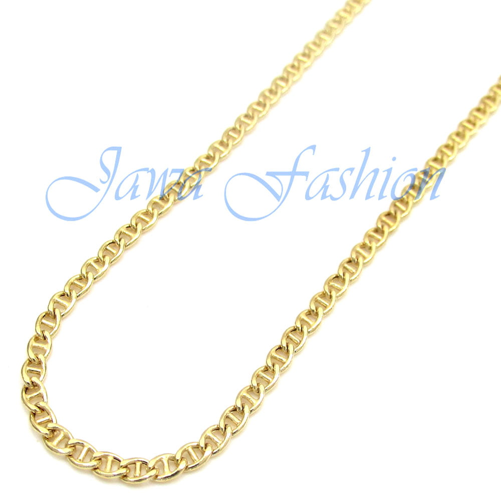 10K Yellow Gold Men Womens 5MM Hollow Mariner Chain Necklace Lobster Clasp, 20 to 28 Inches (28) by
