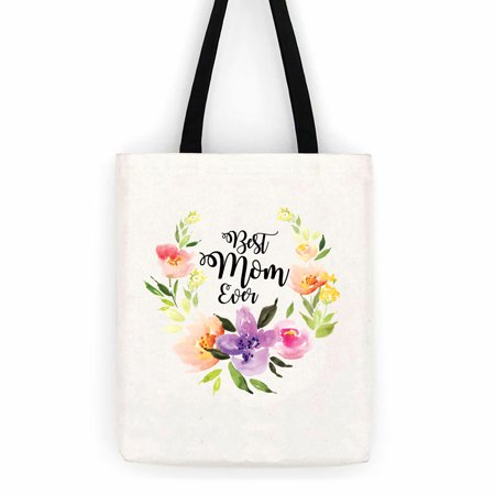 Best Mom Ever Floral Cotton Canvas Tote Bag Day Trip Bag Carry