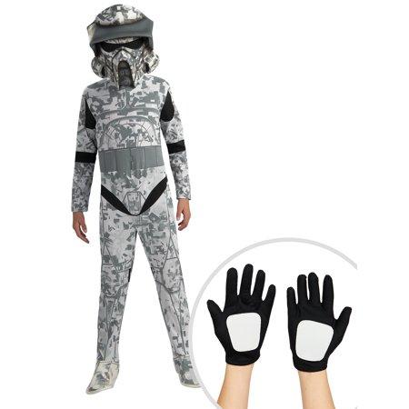 Boy's Star Wars Clone Wars ARF Trooper Costume and Kid's Star Wars Clone Trooper Gloves (Arf Troopers)