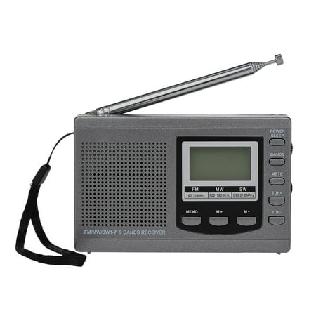 FM / AM / SW Radio Multiband Digital Stereo Radio Receiver Earphone Output Time Display Alarm Clock External Rotatable Antenna