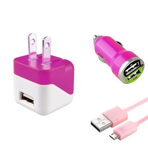 Insten Pink AC Travel + 2-Port Car Charger Adapter + 3FT USB Charging Cable For Mobile Cell phone Smartphone