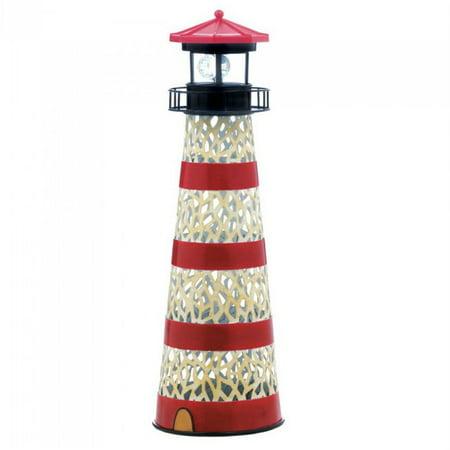 Outdoor Solar Figurines Metal Lighthouse Garden Statue Iron
