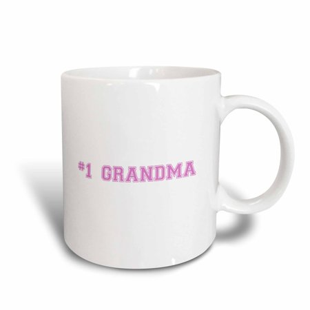 3dRose #1 Grandma - Number One Grandma for worlds greatest and best grans - pink text grandmother gifts, Ceramic Mug,