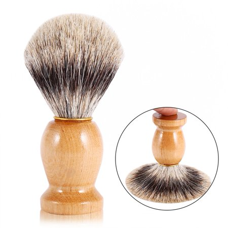 WALFRONT Men's Professional Wooden Handle Shaving Brush Home Salon Faux Badger Hair Barber Beauty Tool (Faux Polished Wood)