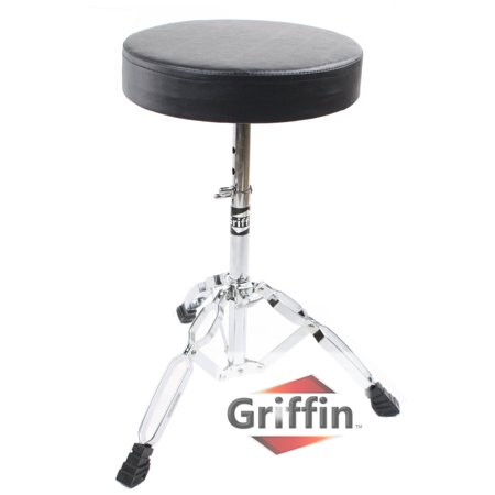 Drum Throne Stand by Griffin Padded Drummer's Seat Drum Set Percussion Stool for Adults Professional Double Braced Hardware Chair for Practice with Adjustable Height from 18