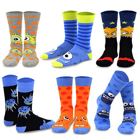 TeeHee Novelty Cotton Fun Crew Socks 6-Pack for Men (Fun Monsters) Toy Machine Monster Socks
