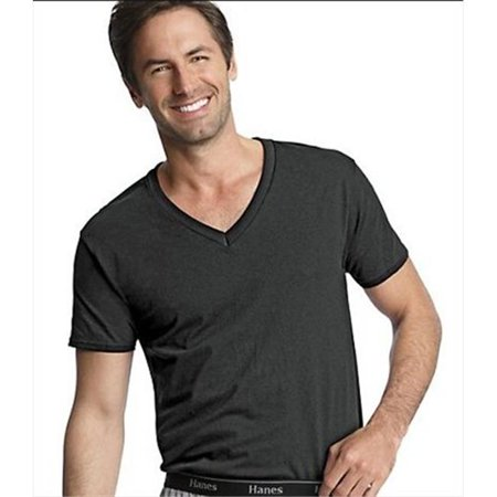 1603bc99 Hanes 7883B3 Classics Men Traditional Fit Comfortsoft Tagless Dyed Black  V-Neck Undershirt 3- ...