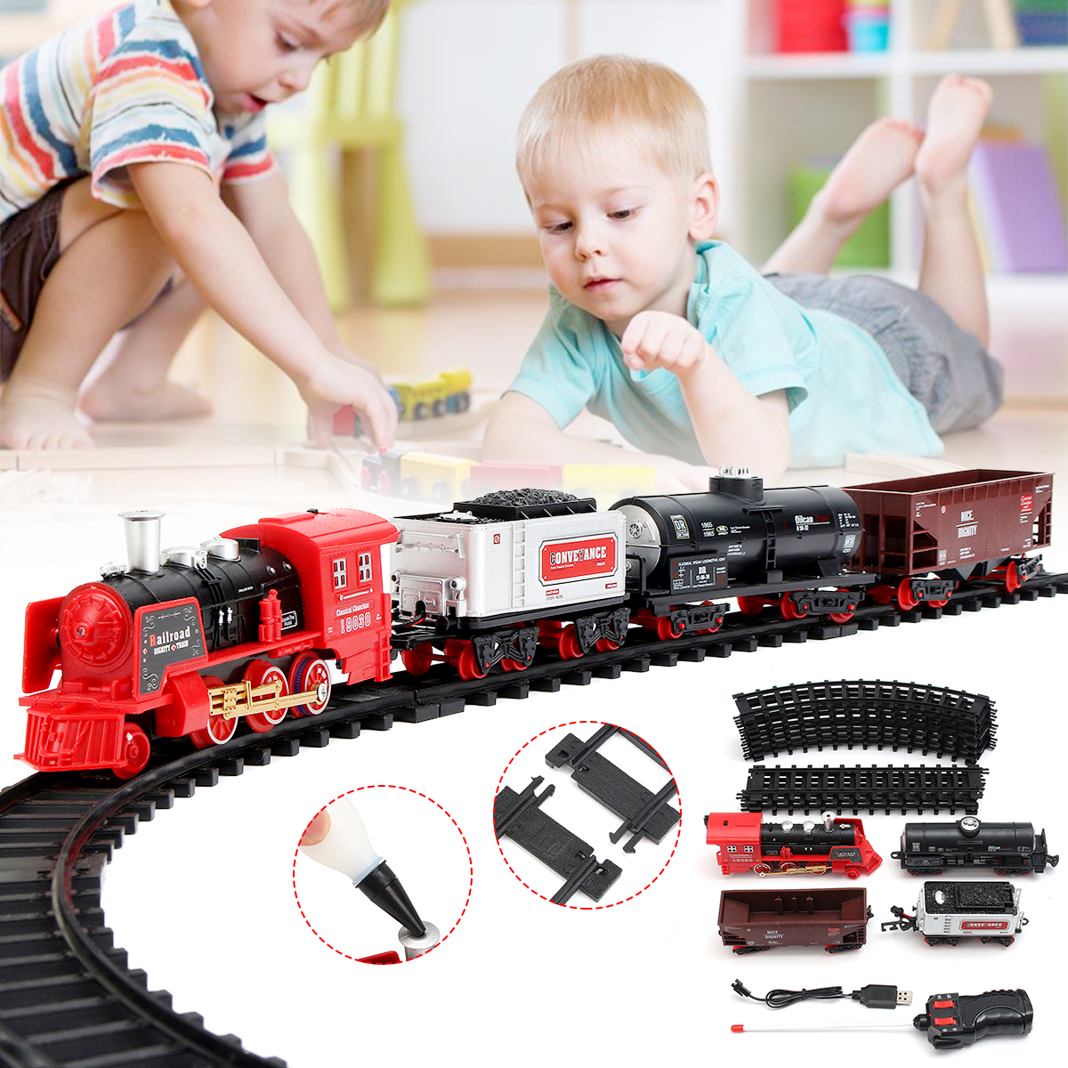 Rechargable Classi c Train Set For Kids With Real Smoke, Music, and Lights Battery Operated Railway Car Set