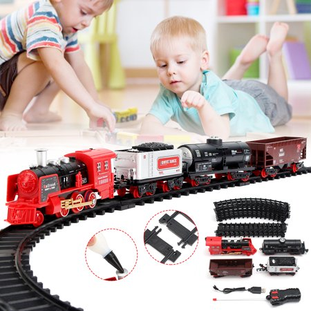Classic Smoke Train Set For Kids With Real Smoke Railway Car Set and Accessories Kid Children Baby Toy Gift Hobby