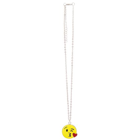 Kissy Face Emoticon (Frogsac Neon Yellow Kissy Face Emoticon Silver Chain)