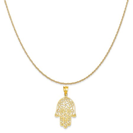 14k Yellow Gold Filigree Hamsa Pendant on a 14K Yellow Gold Rope Chain Necklace, 18""