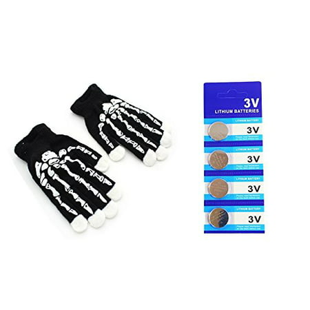 LED Light Gloves Xmas Gift, Birthday Gift, Halloween, Event Light Show Party Gloves with Extra 4 Pcs of Batteries (Skeleton 7 Color & 6 Modes Gloves)
