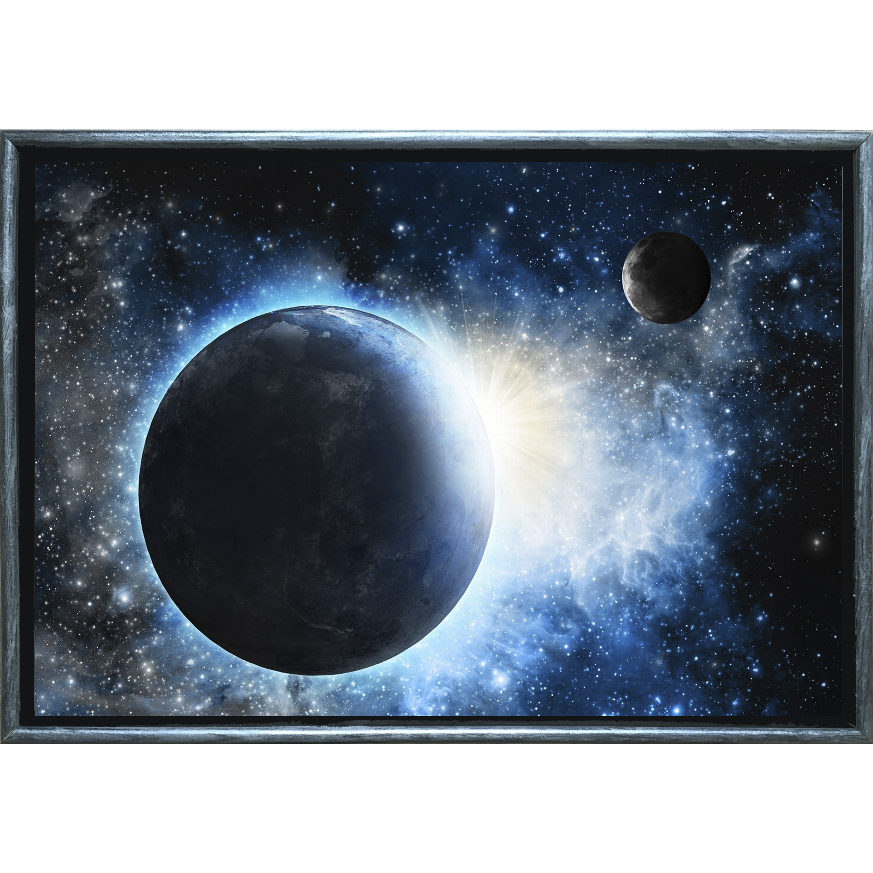 Startonight Silver Luxury Framed Canvas Wall Art Silver Winter on the Lake, Dual View Surprise Illuminated Landscapes Artwork 5 Stars Gift 19.69 x 27.56 inch