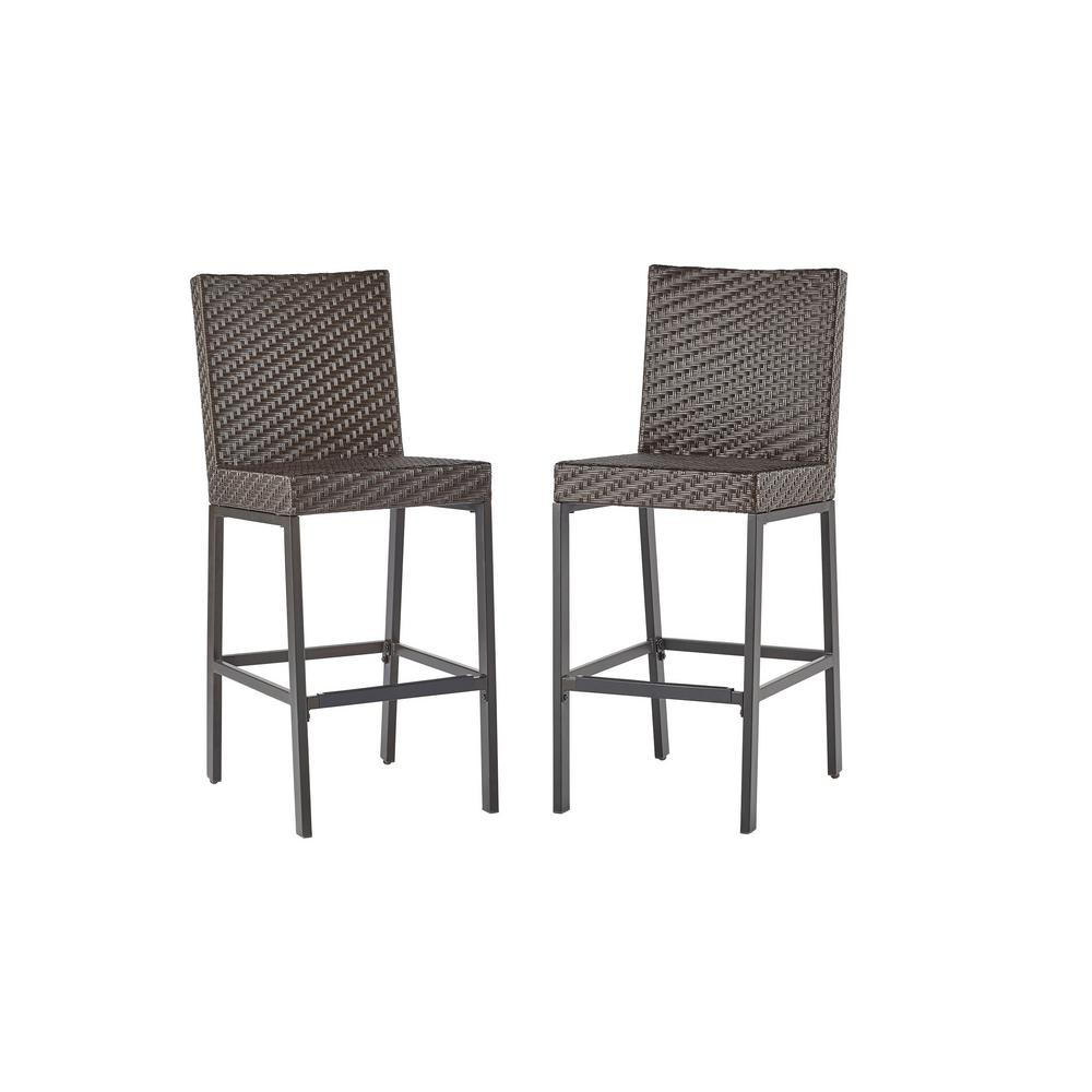 Hampton Bay 720 130 001 Rehoboth Dark Brown Wicker Outdoor Bar Stool 2 Pack