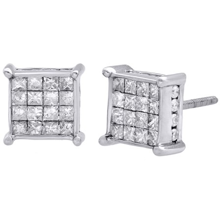 14K White Gold Princess Diamond Square Studs 4 Prong 8mm 3D Earrings 1 CT.
