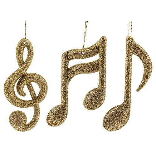 Gold Music Notes & Treble Clef Ornaments Set 3