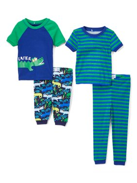 Graphic and Print Short Sleeve Tops, Sleep Shorts and Pants, 4-Piece Pajama Set (Little Boys & Big Boys)