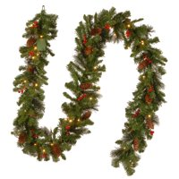 """9' x 10"""" Pre-Lit B/O Crestwood Spruce Decorated Artificial Christmas Garland - Warm White LED Lights"""