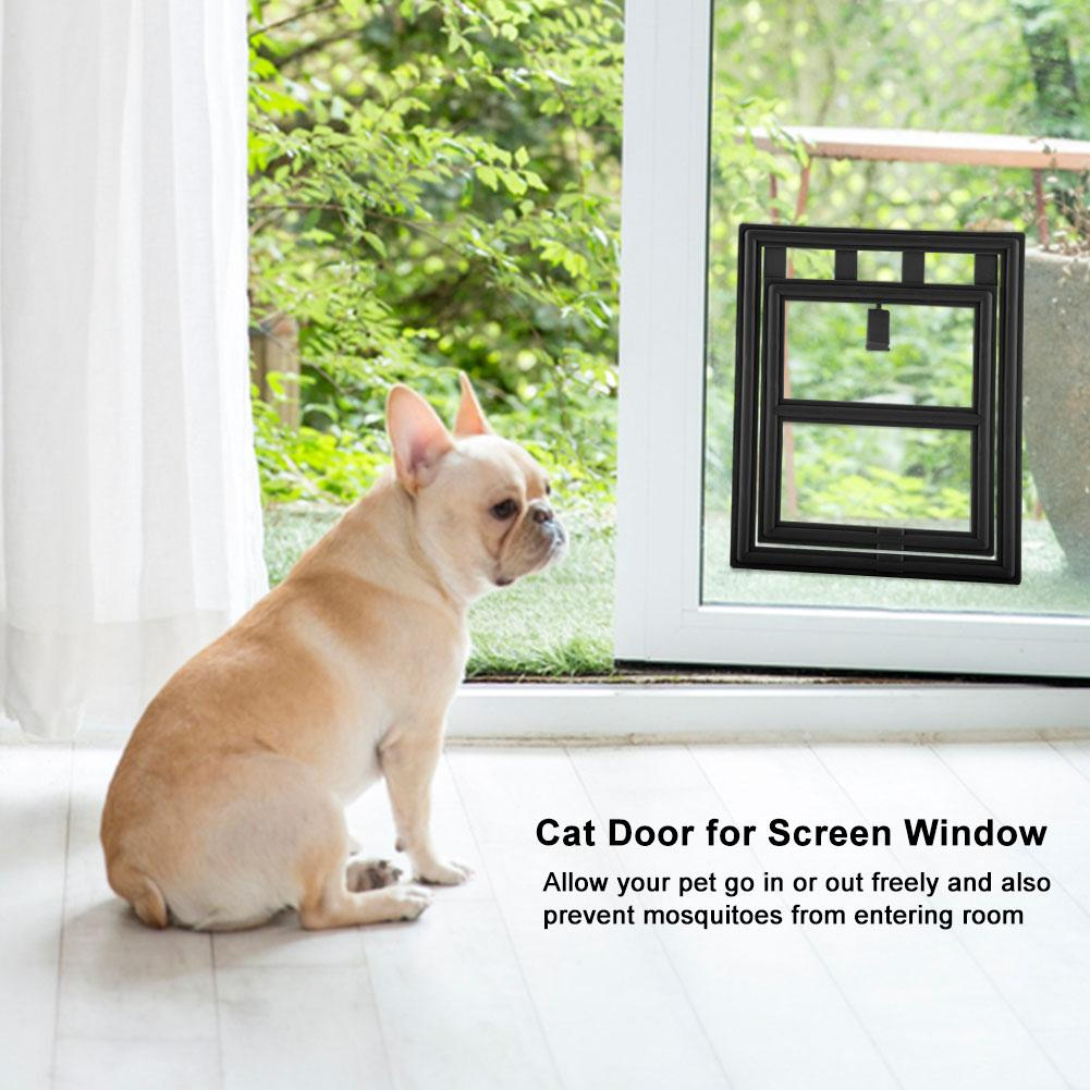 WALFRONT Plastic Pet Dog Puppy Cat Door Magnetic Locking Safe Flap for Screen Window Gate, Magnetic Cat Door, Cat Door for Screen Door