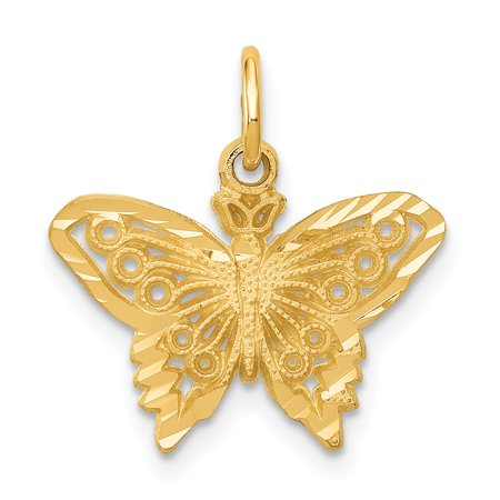 14k Gold Butterfly Necklace (14kt Yellow Gold Butterfly Pendant Charm Necklace Animal Fine Jewelry Ideal Gifts For Women Gift Set From Heart)