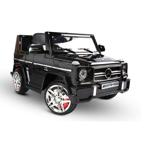12V powered Mercedes AMG G65 Ride on electric car For Kids with Remote Control LED lights MP3 Leather Seat - Black - Led Toys For Kids
