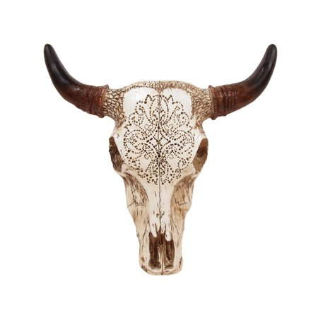 Western Decore (Southwestern Tooled Steer/Bull/Cow/Bison Skull&Horns Head Western Wall Decor)