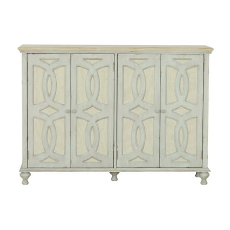 Wood and Fabric Four Door Console in Weathered Grey ()