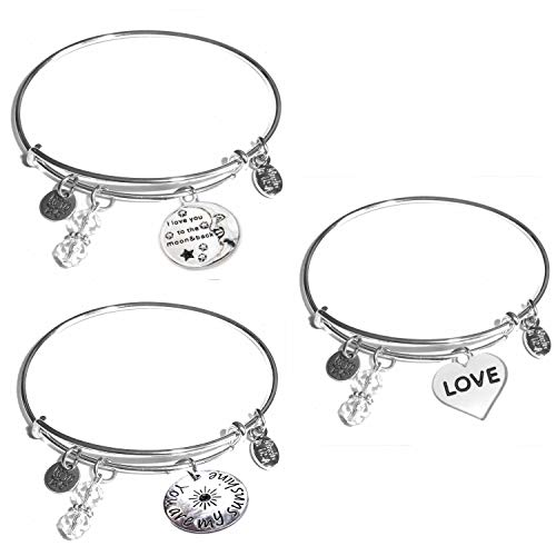 Jewelry Trends Stainless Steel Together Forever Message Bangle Stacking Bracelet
