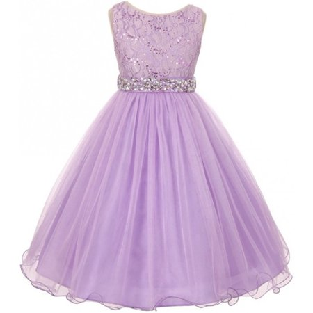 - Lace Decorated Sequins Rhinestone Belt Bridesmaid Flower Girls Dresses Lilac Size 4-14