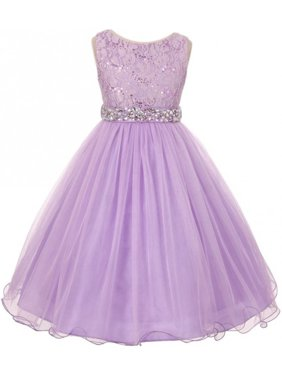 af82ecf52f61 Product Image Lace Decorated Sequins Rhinestone Belt Bridesmaid Flower  Girls Dresses Lilac Size 4-14. BluNight Collection