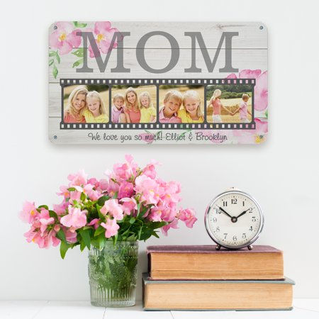 Personalized Floral Photo Memory Reel Metal Sign ()
