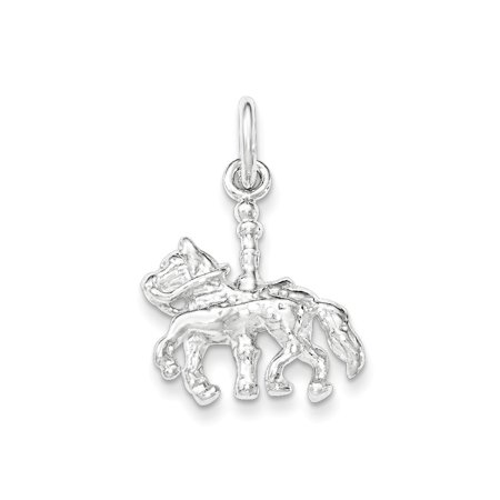 Roy Rose Jewelry Sterling Silver Polished Carousel Horse Pendant