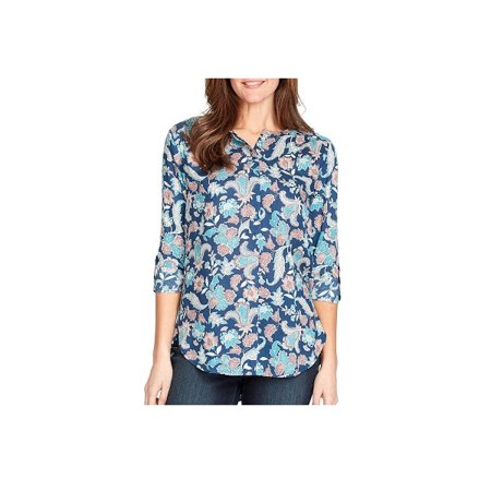 Nine West Holdings, Inc. Womens Size 2X-Large 3/4 Length Roll Tab Sleeves Lucy Top Blouse, Deep Tide Botanical - West Size Chart