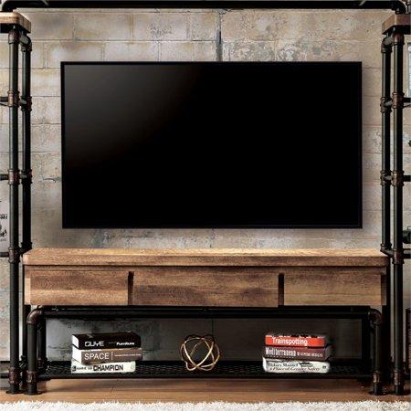 Furniture of America Jarod Industrial 60″ TV Stand in Antique Black