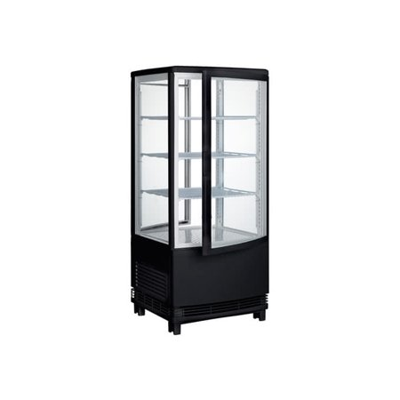 Winco CRD-1K, 17-Inch Countertop Refrigerated Beverage Display, Black, 120V, 180W, Curved Doors