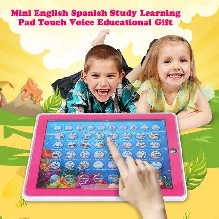 Spanish Toys (Fosa Mini English Spanish Study Learning Pad Touch Voice Educational Gift Kids Toy, Educational Learning Pad, Touch Learning)