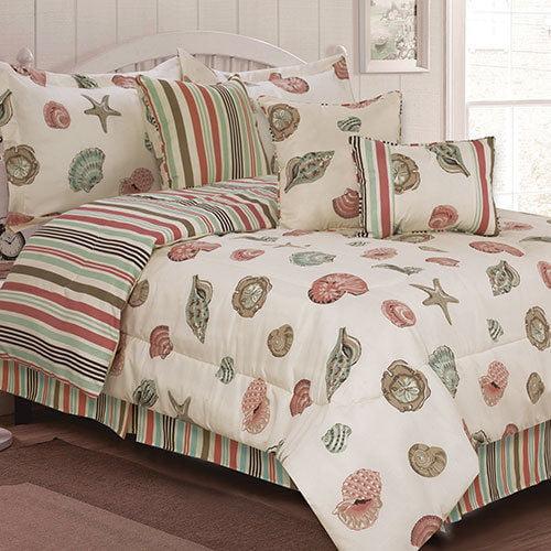 Coral Seashells Beach House Nautical King Comforter Set 7 Piece