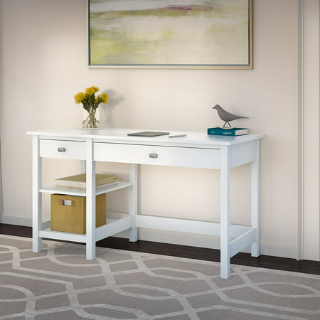 Bush Furniture Broadview Computer Desk with Shelves in Pure White ()
