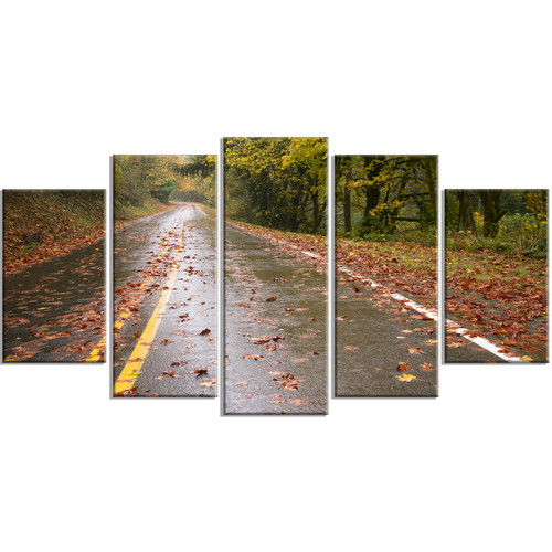 Design Art 'Wet Rainy Road in Forest' 5 Piece Wall Art on Wrapped Canvas Set