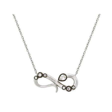 Fronay 211545 16 in. Cubic Zirconia Snake Infinity Necklace in Matte Sterling Silver - image 1 de 1