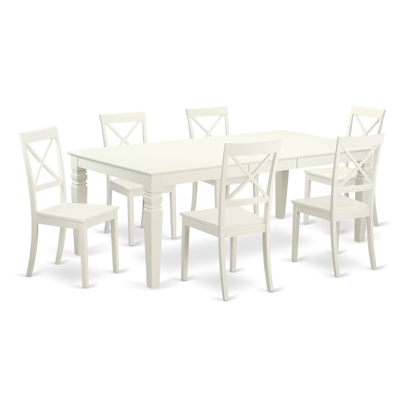East West Furniture Logan 7 Piece Crossback Dining Table Set