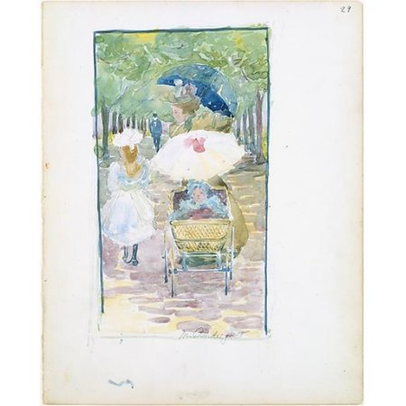 Public Domain Images  Large Boston Public Garden Sketchbook - A Mother Pushing Her Baby in A Perambulator with Her Daughter At Her Side Poster Print by Maurice Brazil Prendergast, American St.
