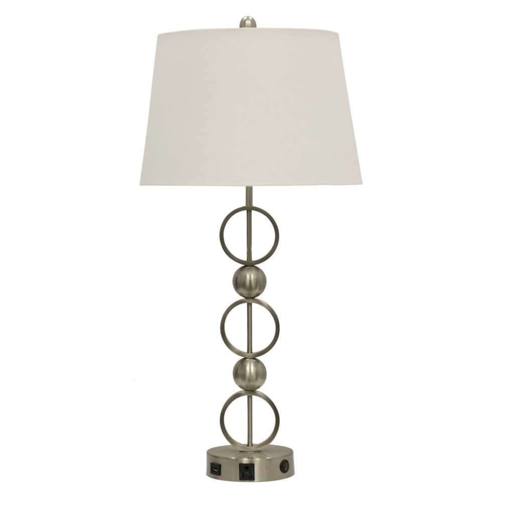 Abode 84 Brushed Steel Metal Table Lamp With Outlet Usb Port And