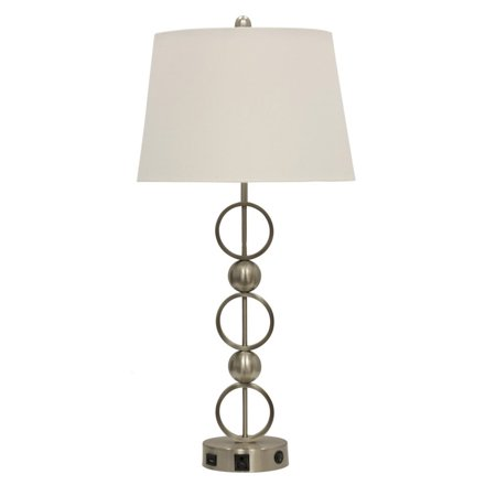 (Stylecraft Brushed Steel Metal Table Lamp with Outlet, USB Port, and Base Switch)
