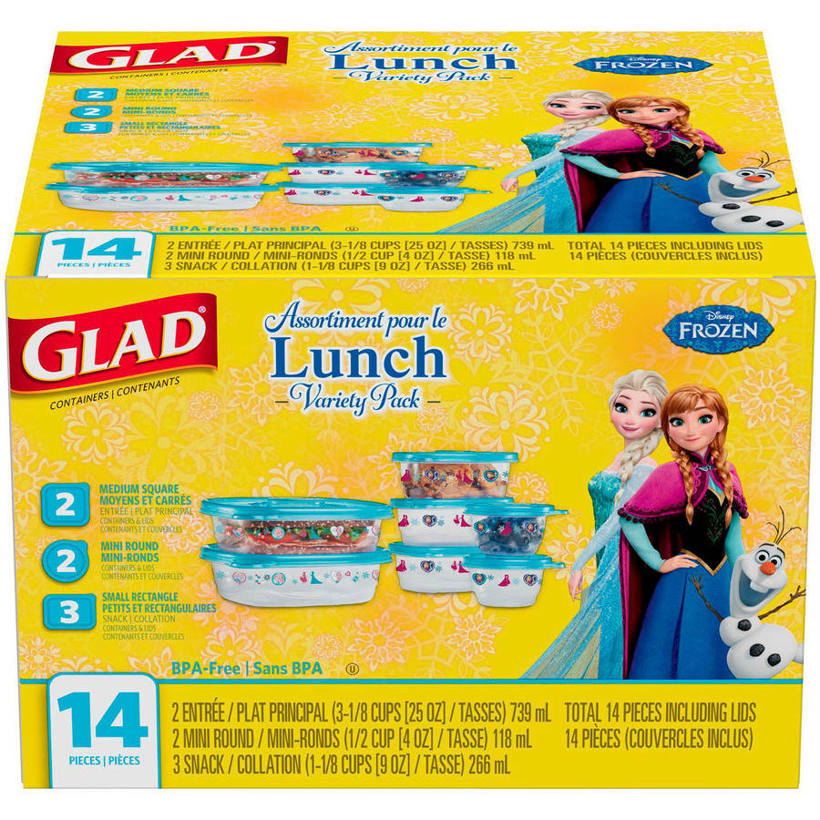 Glad Lunch Variety Pack Disney Frozen Food Storage Containers, 14 pc, BPA Free