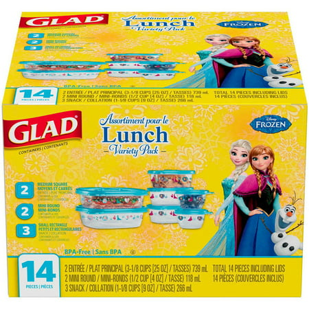 Glad Lunch Variety Pack Disney Frozen Food Storage Containers  Bpa Free  14 Pk